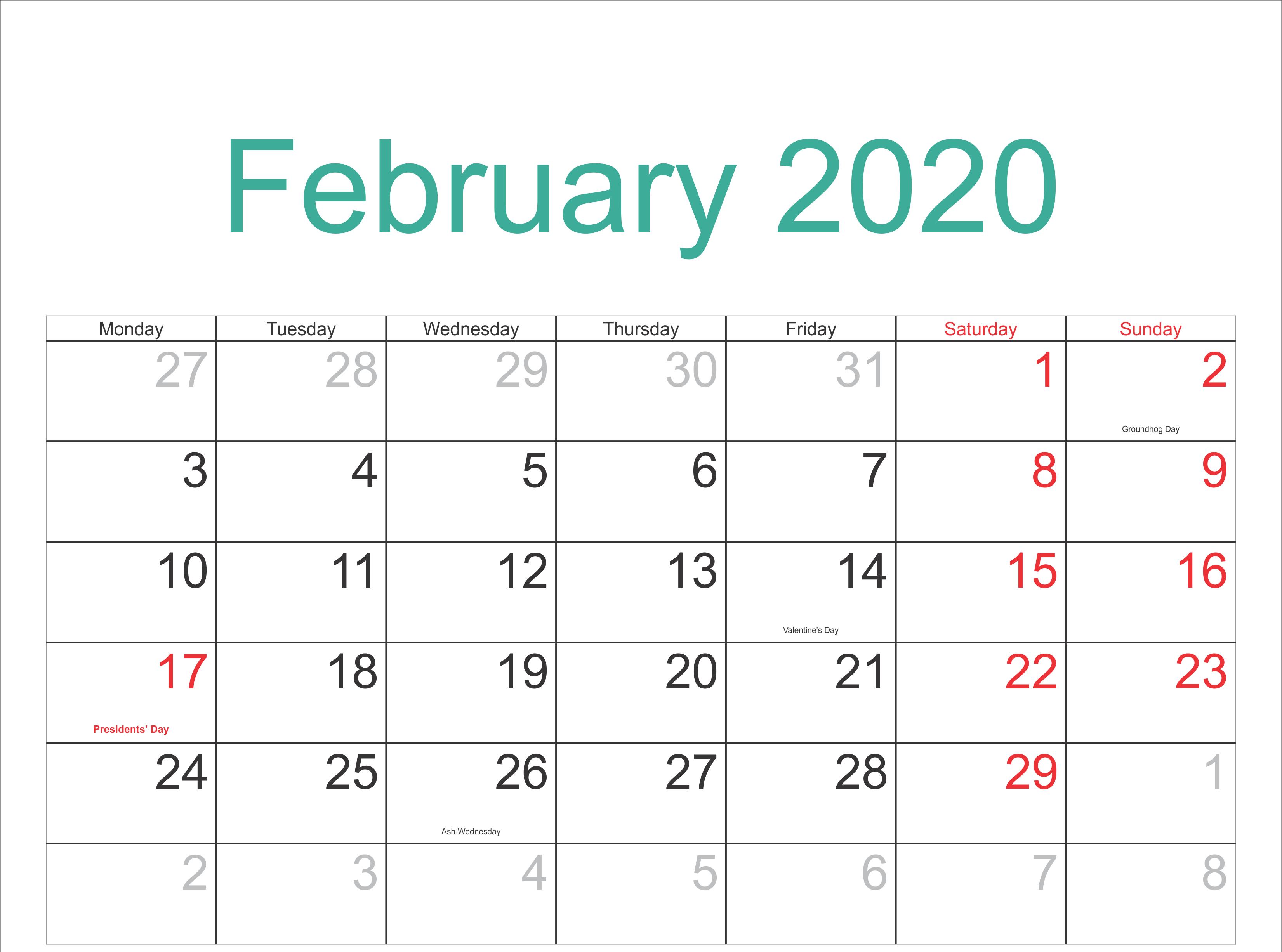 February 2020 Calendar Printable Holidays Full