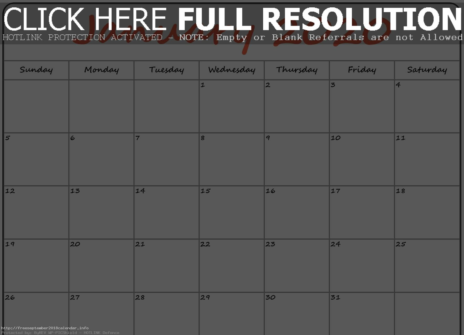 January 2020 Calendar Printable Template